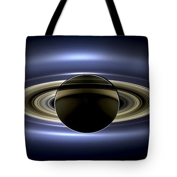Saturn Mosaic With Earth Tote Bag by Adam Romanowicz