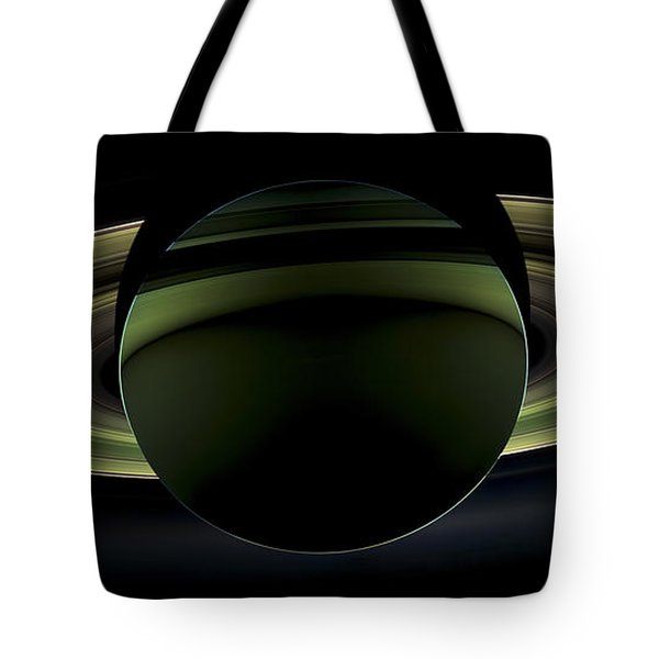 Saturns Glowing Rings Tote Bag by Adam Romanowicz