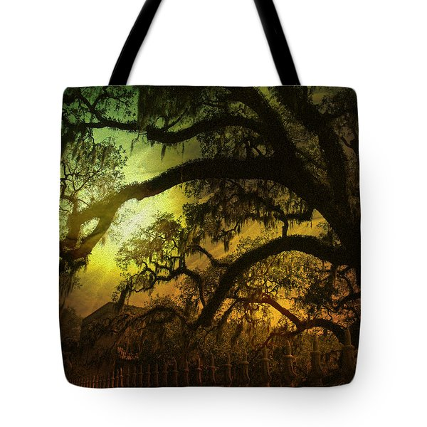 Savannah Ga Spanish Moss-featured In Best Blank Greeting Cards And Harmony And Happiness Groups Tote Bag by EricaMaxine  Price