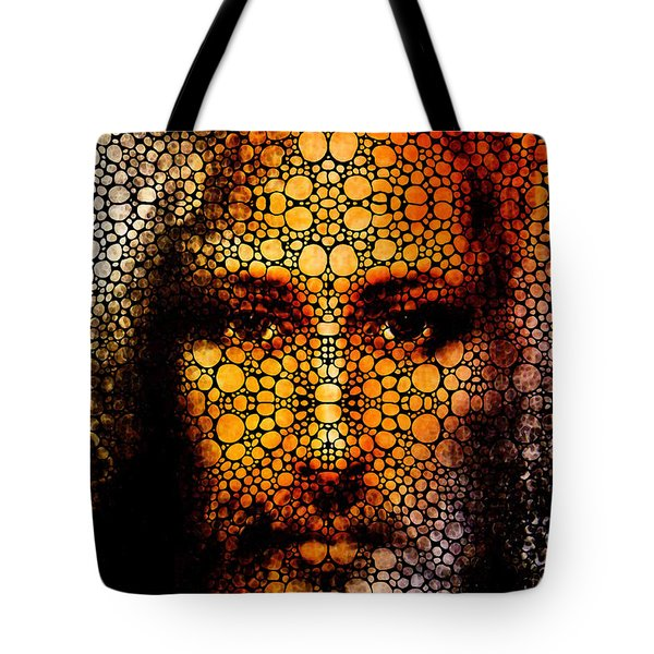 Savior - Stone Rock'd Jesus Art By Sharon Cummings Tote Bag by Sharon Cummings