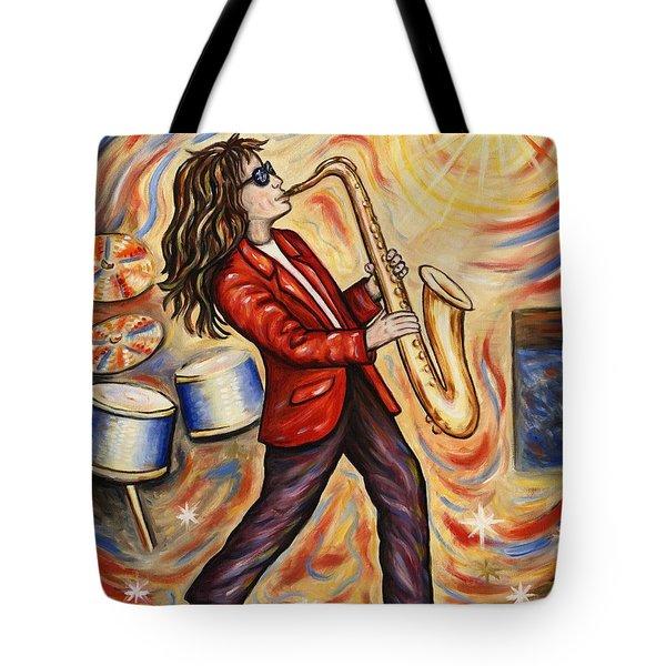 Sax Man Tote Bag by Linda Mears