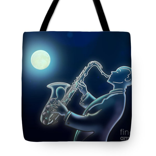 Sax-o-moon Tote Bag by Bedros Awak