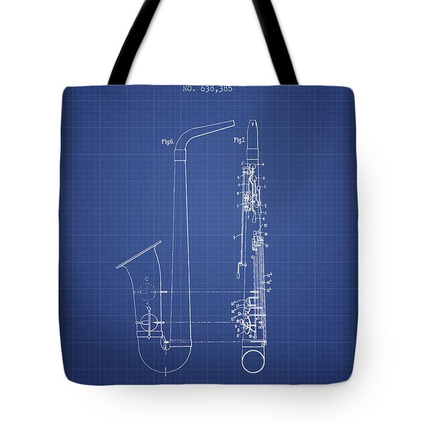 Saxophone Patent From 1899 - Blueprint Tote Bag by Aged Pixel