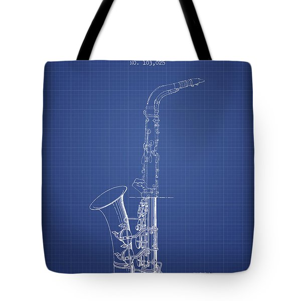 Saxophone Patent From 1937 - Blueprint Tote Bag by Aged Pixel