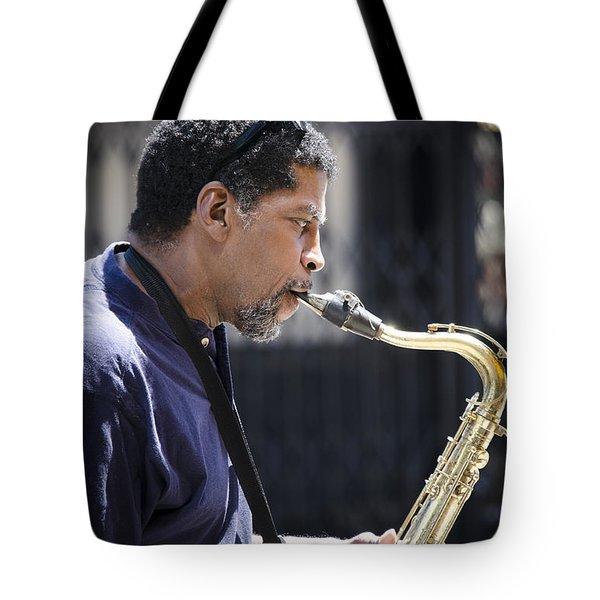 Saxophone Player Tote Bag by Carolyn Marshall