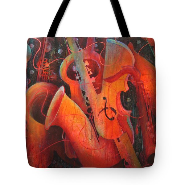Saxy Cellos Tote Bag by Susanne Clark