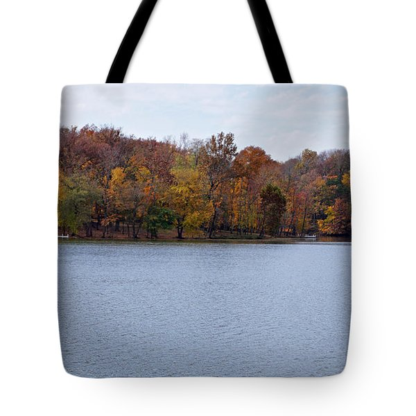 Scales Lake in Autumn Tote Bag by Sandy Keeton
