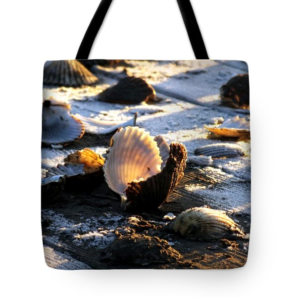 Half Shell On Ice Tote Bag by Karen Wiles