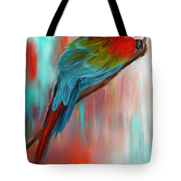 Scarlet- Red And Turquoise Art Tote Bag by Lourry Legarde