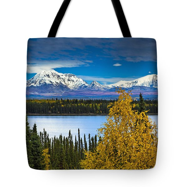 Scenic View Of Mt. Sanford L And Mt Tote Bag by Sunny Awazuhara- Reed