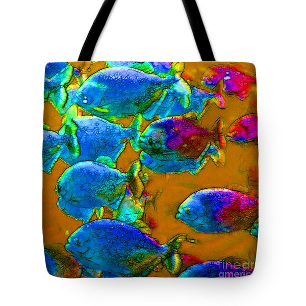 School of Piranha v1 - square Tote Bag by Wingsdomain Art and Photography