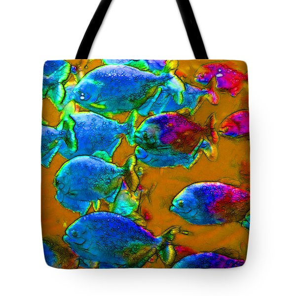 School of Piranha v1 Tote Bag by Wingsdomain Art and Photography