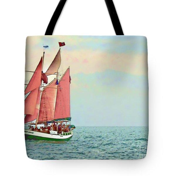 Schooner Jolly Rover Key West Tote Bag by Joan  Minchak
