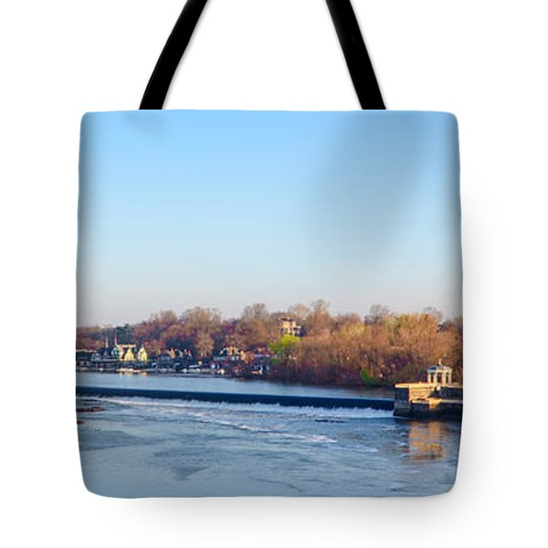Schuylkill River at Boathouse Row and  the Fairmount Waterworks Tote Bag by Bill Cannon
