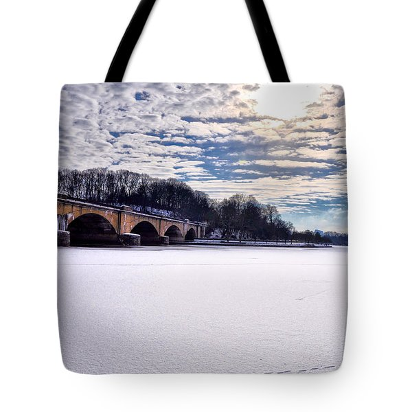 Schuylkill River - Frozen Tote Bag by Bill Cannon