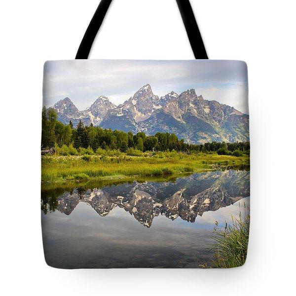 Schwabacher Landing Grand Tetons Tote Bag by Teresa Zieba