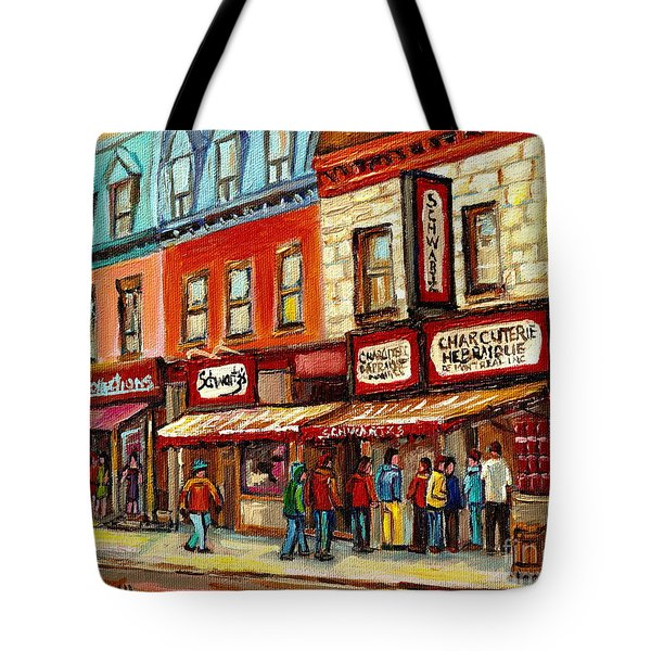 Schwartz The Musical Painting By Carole Spandau Montreal Streetscene Artist Tote Bag by Carole Spandau