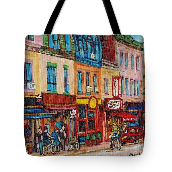 Schwartzs Deli And Warshaw Fruit Store Montreal Landmarks On St Lawrence Street Tote Bag by Carole Spandau