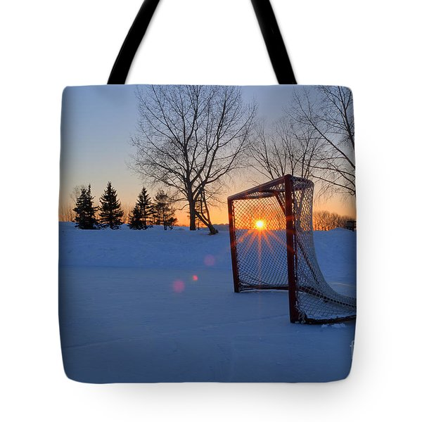 Scoring The Sunset Tote Bag by Darcy Michaelchuk