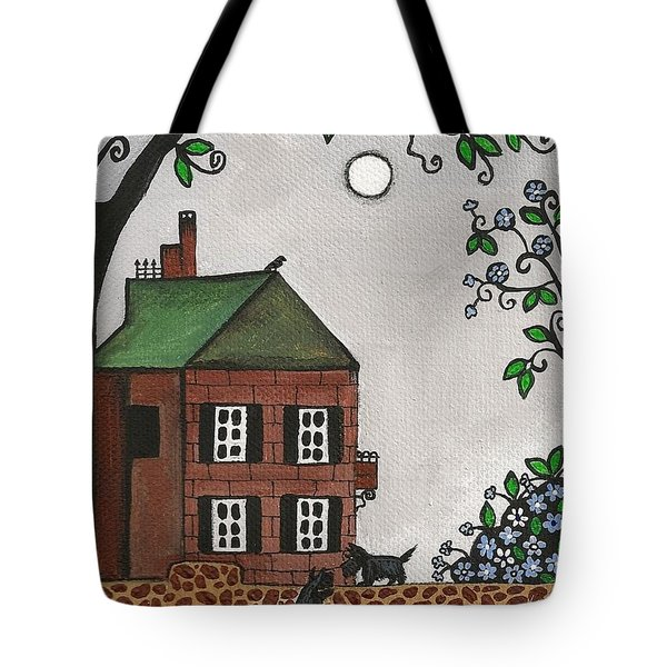 Scotties On An Overcast Day Tote Bag by Margaryta Yermolayeva