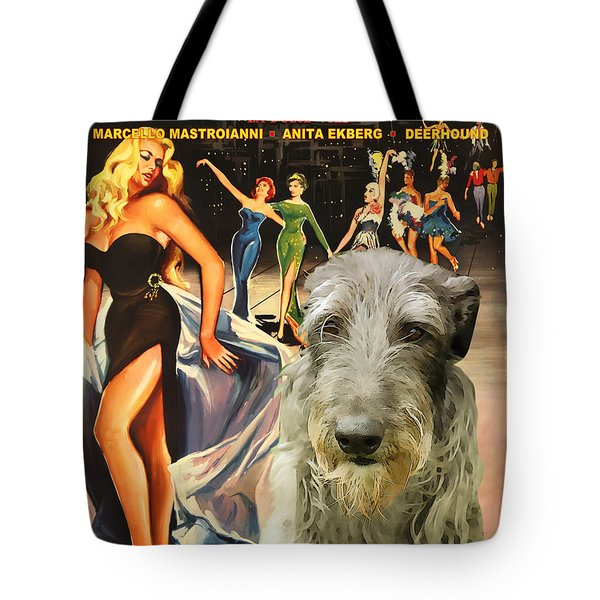Scottish Deerhound Art - La Dolce Vita Movie Poster Tote Bag by Sandra Sij