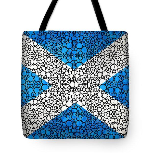 Scottish Flag - Stone Rock'd Scotland Art By Sharon Cummings Tote Bag by Sharon Cummings