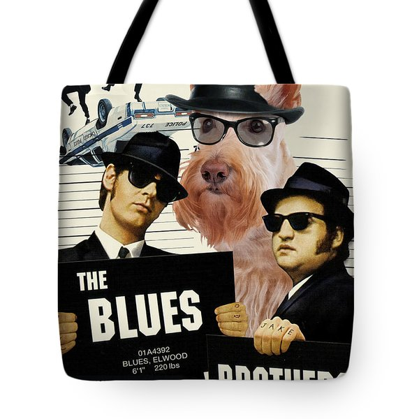 Scottish Terrier Art Canvas Print - The Blues Brothers Movie Poster Tote Bag by Sandra Sij