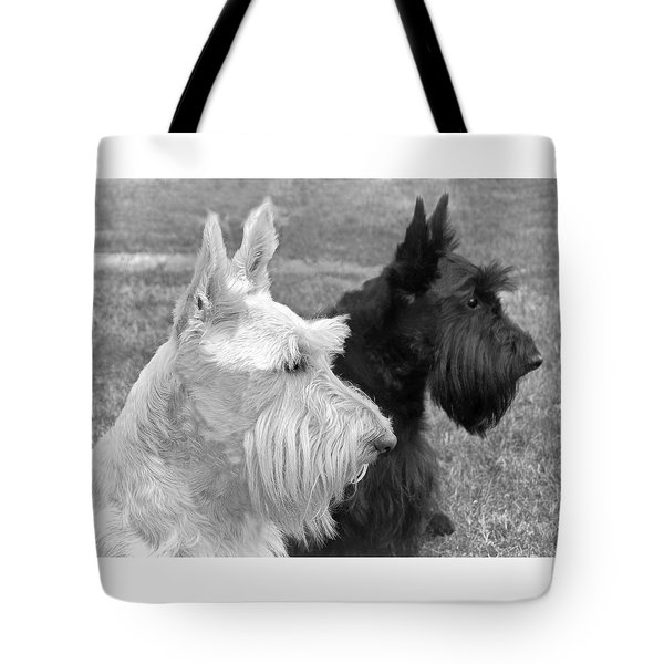 Scottish Terrier Dogs Black And White Tote Bag by Jennie Marie Schell
