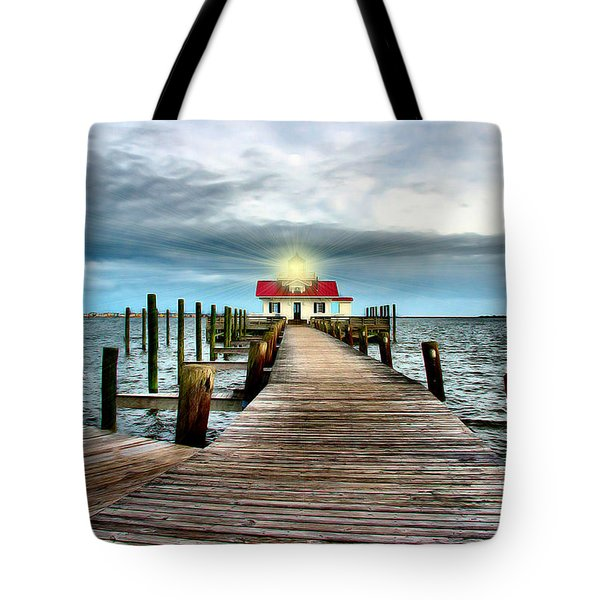Screw-pile Lighthouse Tote Bag by Nadine Lewis