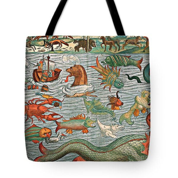 Sea Monsters 1544 Tote Bag by Photo Researchers