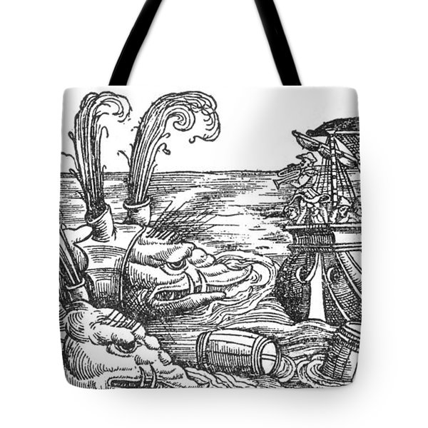 Sea Monsters Or Whales, 16th Century Tote Bag by Photo Researchers