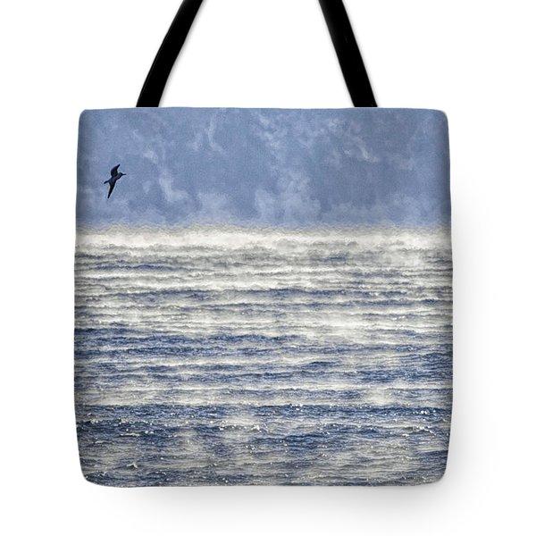 Sea Smoke And Gull Blues Tote Bag by Marty Saccone