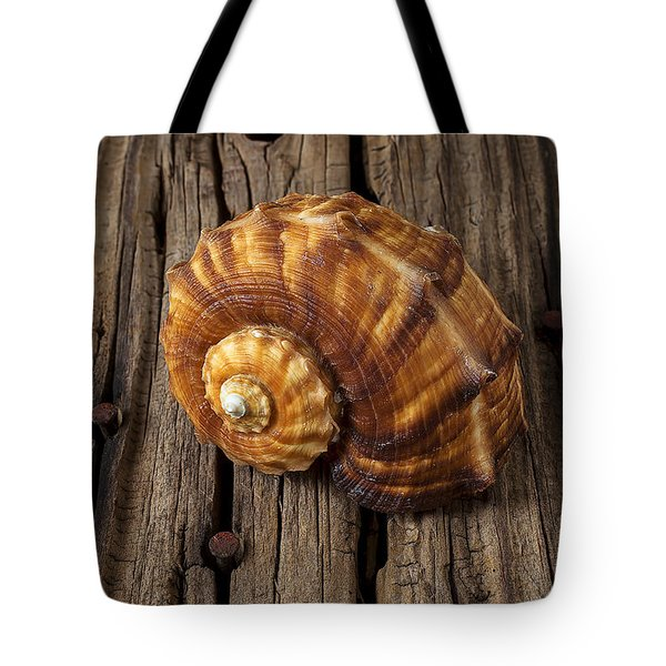 Sea Snail Shell On Old Wood Tote Bag by Garry Gay