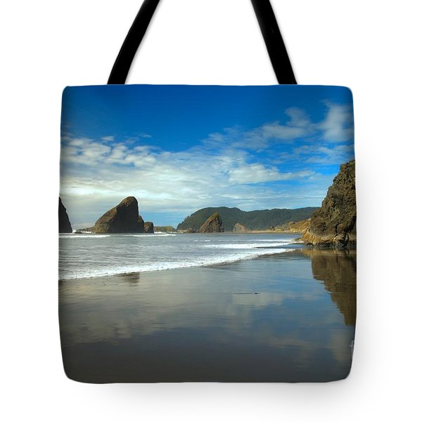 Sea Stacks In Blue Tote Bag by Adam Jewell