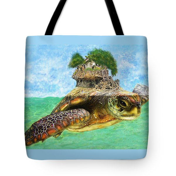 Sea Turtle Island Tote Bag by Jane Schnetlage