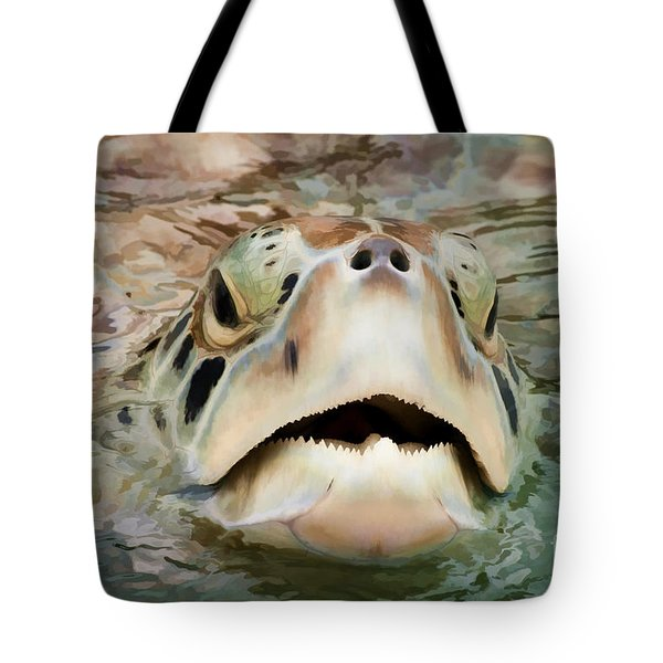 Sea Turtle Poking Head Out Of Water Tote Bag by Dan Friend