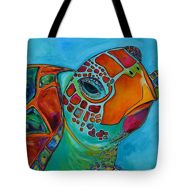 Seaglass Sea Turtle Tote Bag by Patti Schermerhorn