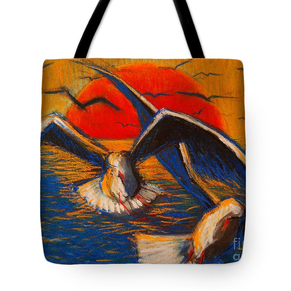 Seagulls At Sunset Tote Bag by Mona Edulesco