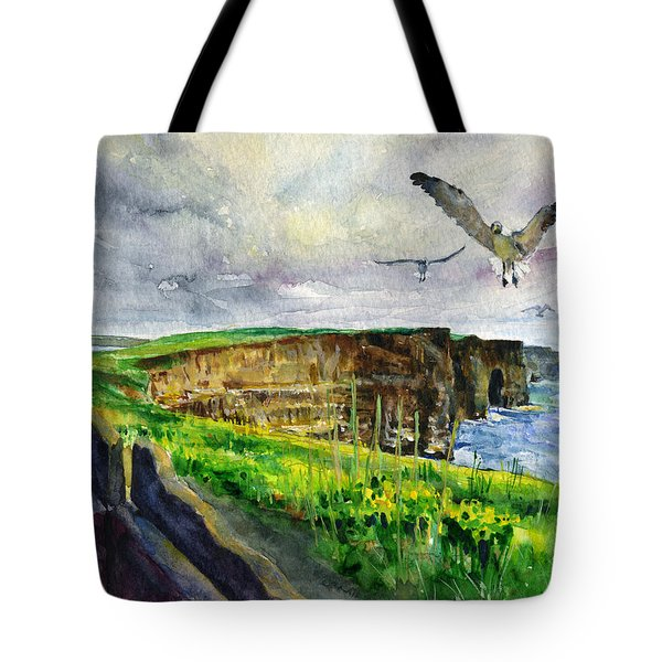 Seagulls At The Cliffs Of Moher Tote Bag by John D Benson