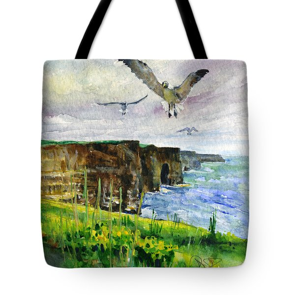 Seagulls At The Cliffs Of Moher Portrait Tote Bag by John D Benson