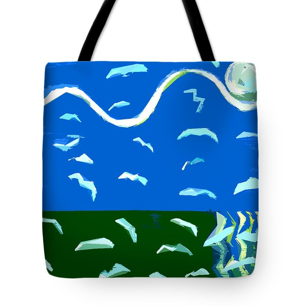 Seagulls Over Ocean Tote Bag by Patrick J Murphy