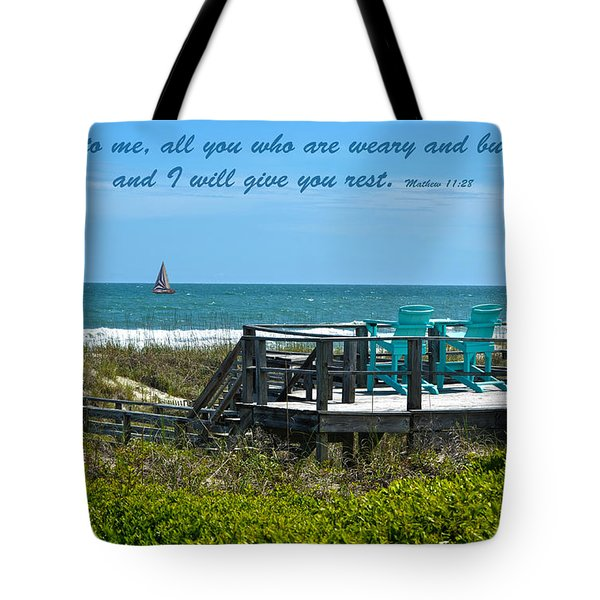 Seascape And Scripture Tote Bag by Sandi OReilly