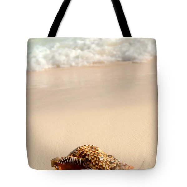 Seashell and ocean wave Tote Bag by Elena Elisseeva