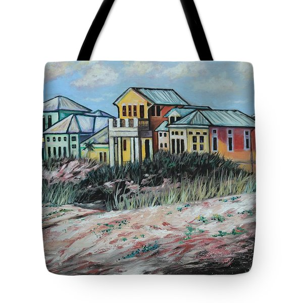 Seaside Cottages Tote Bag by Eve  Wheeler