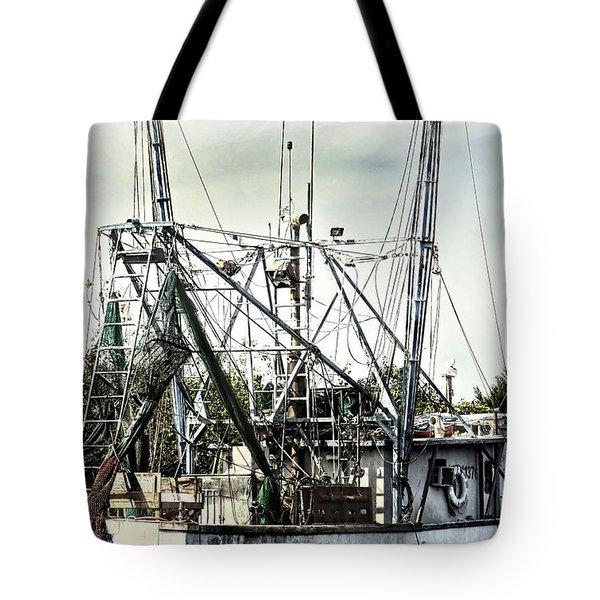 Seasoned Fishing Boat Tote Bag by Debra Forand
