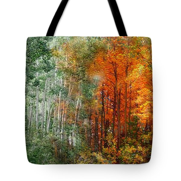 Seasons Of The Aspen Tote Bag by Carol Cavalaris
