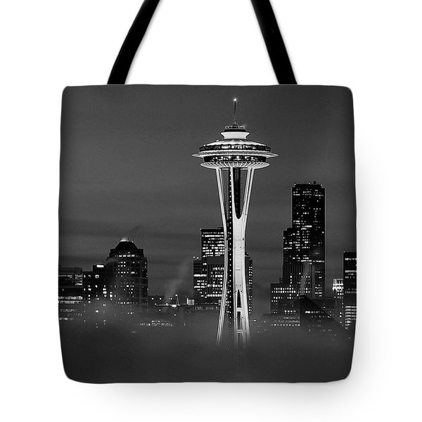 Seattle Morning Mist Black And White Tote Bag by Benjamin Yeager