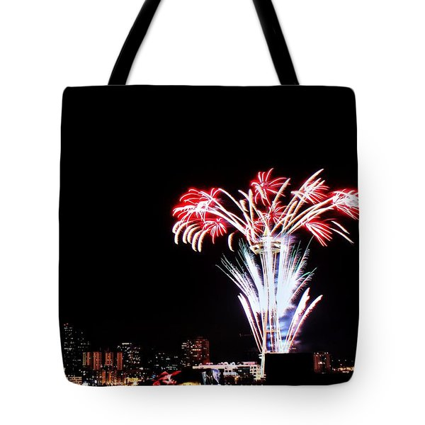 Seattle New Years Tote Bag by Benjamin Yeager