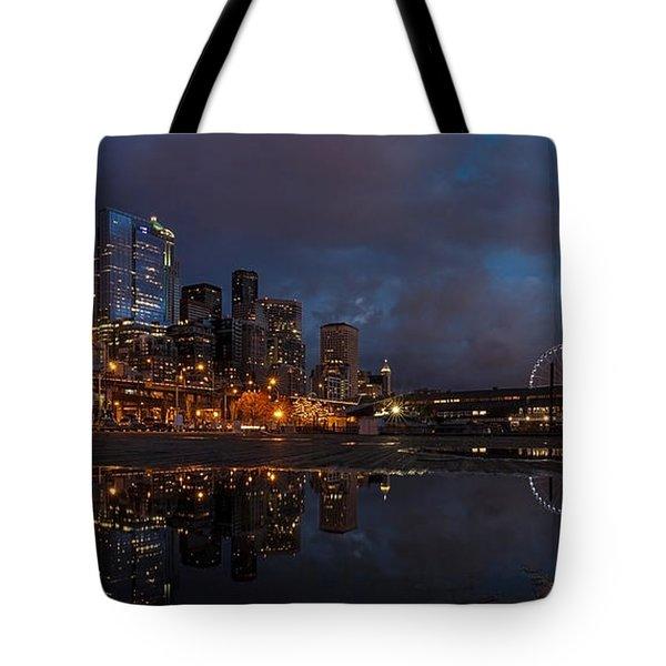 Seattle Night Skyline Tote Bag by Mike Reid