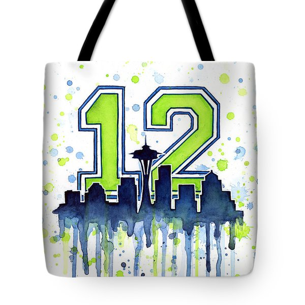 Seattle Seahawks 12th Man Art Tote Bag by Olga Shvartsur